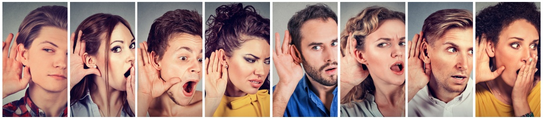 Multiethnic group of young people men and women listening eavesdropping
